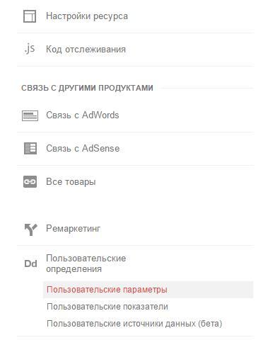 Google Analytics пользовательские определения