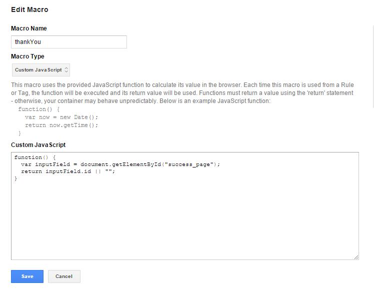 Макрос Custom Java Script для отслеживания формы