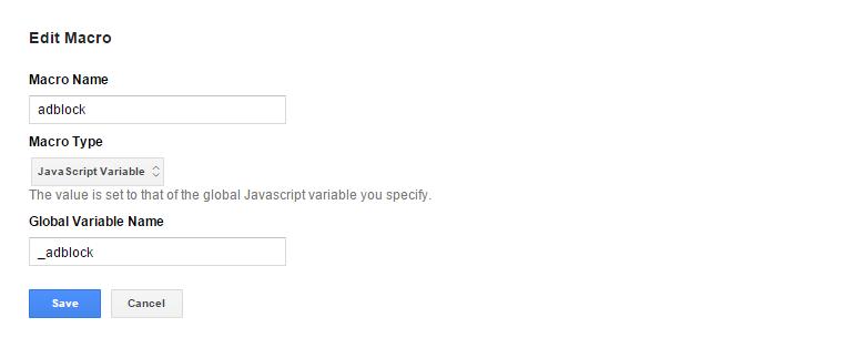 Макрос Java Script Variable для отслеживания пользователей с adblock
