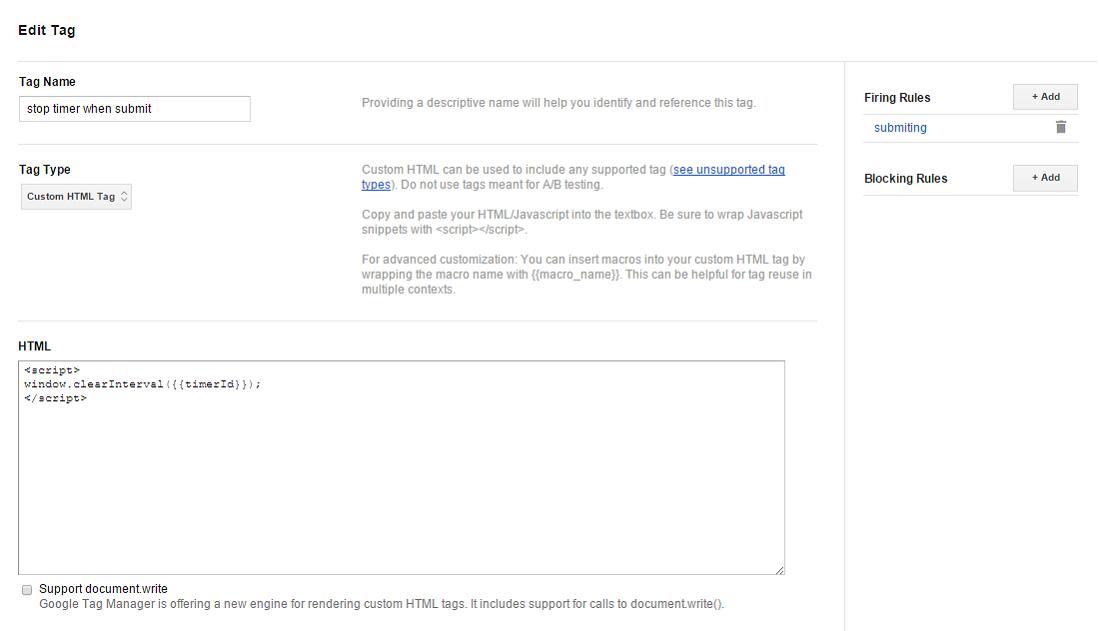 Остановить таймер в Google Tag Manager