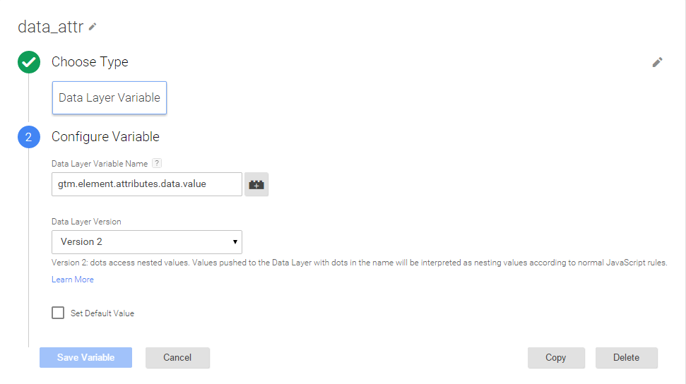 Пример макроса Data Layer Variable в Google Tag Manager 2.0